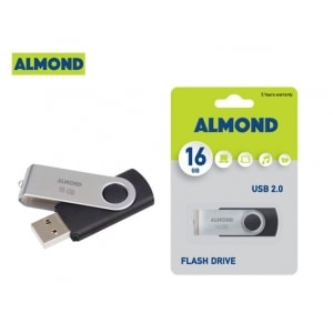 ALMOND FLASH DRIVE USB 16GB TWISTER ΜΑΥΡΟ